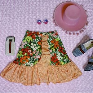 Vtg 70s Western Floral plaid Ruffle Mini Skirt